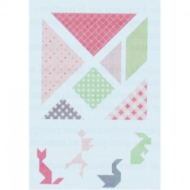 Textile transfert Girl Tangram iron-on applique - pink