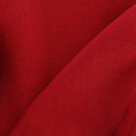 Tissu lin rouge carmin  x 10cm