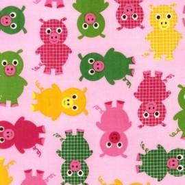 Tissu Urban Zoologie Pig Bright x 10cm