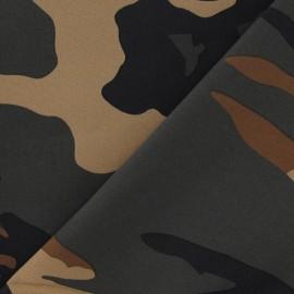 Tissu Gabardine Miliaire brun x 10cm