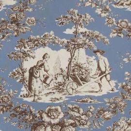 Tissu toile de Jouy Courtisane Brun fond Bleu x 10cm