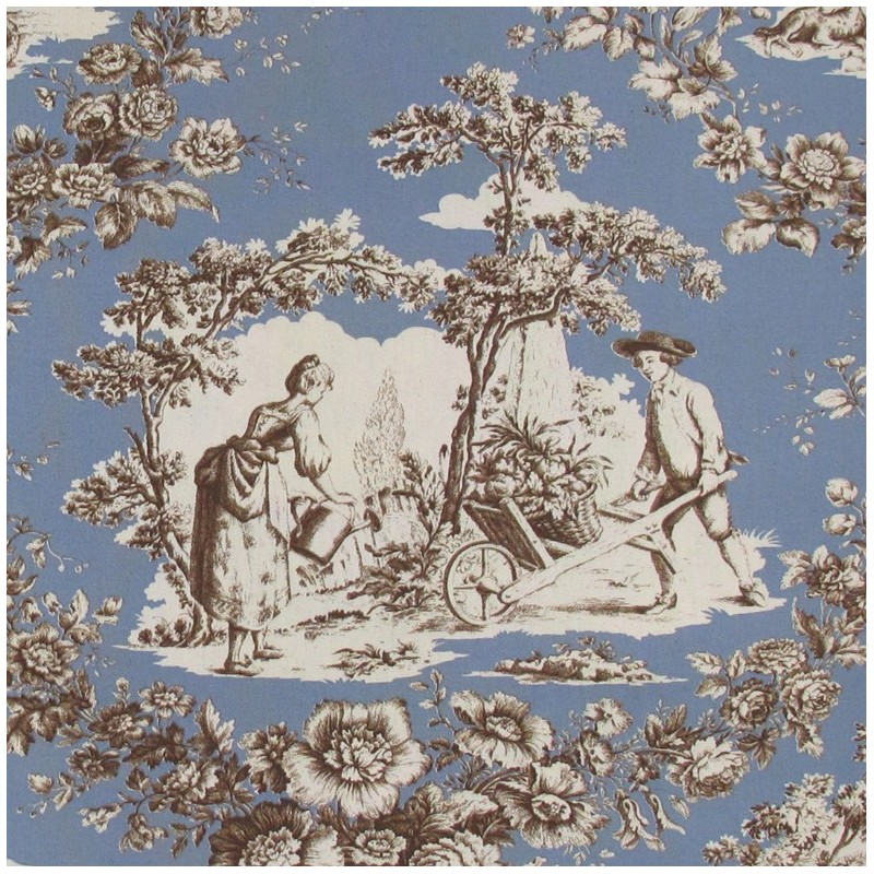 tissu toile de jouy courtisane brun fond bleu x 10cm ma petite mercerie. Black Bedroom Furniture Sets. Home Design Ideas