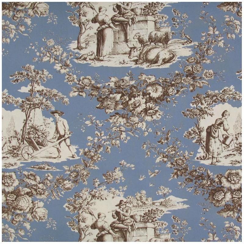 tissu toile de jouy courtisane brun fond bleu x 1 m tre ma petite mercerie. Black Bedroom Furniture Sets. Home Design Ideas