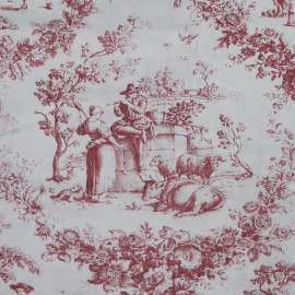 Tissu percale de Jouy  Courtisane Rouge x 10cm