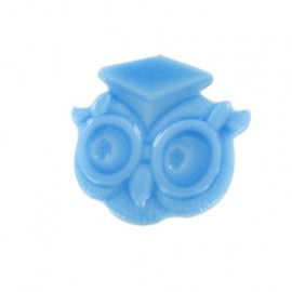 button, owl - light blue