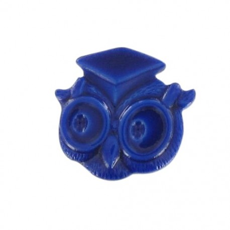 Button, owl - navy blue