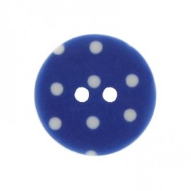 Bouton rond bleu à pois blancs