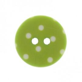 Bouton rond vert anis à pois blancs