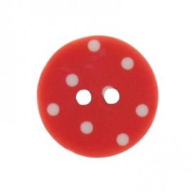 Bouton rond rouge à pois blancs