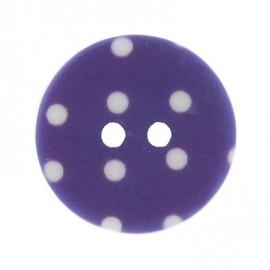 Bouton rond violet à pois blancs