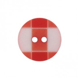 Button, rounded-shaped and large, gingham - red