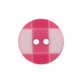 Button, rounded-shaped and large, gingham - fuchsia