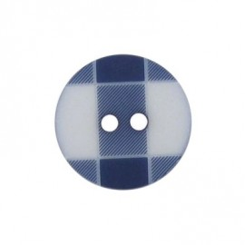 Button, rounded-shaped and large, gingham - navy blue