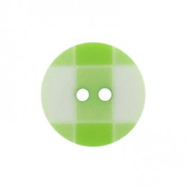 Button, rounded-shaped and large, gingham - lime