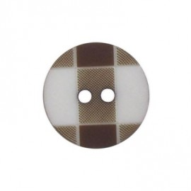 Button, rounded-shaped and large, gingham - brown