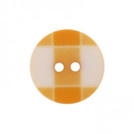 Button, rounded-shaped and large, gingham - orange