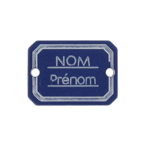 Button, rectangle-shaped, Surname/firstname - navy blue