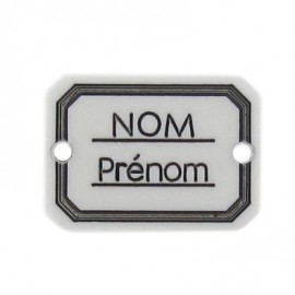 Button, rectangle-shaped, Surname/firstname - white