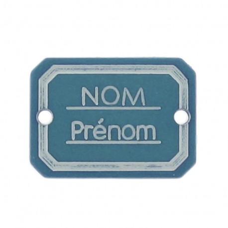 Bouton rectangle Nom/Prénom bleu paon