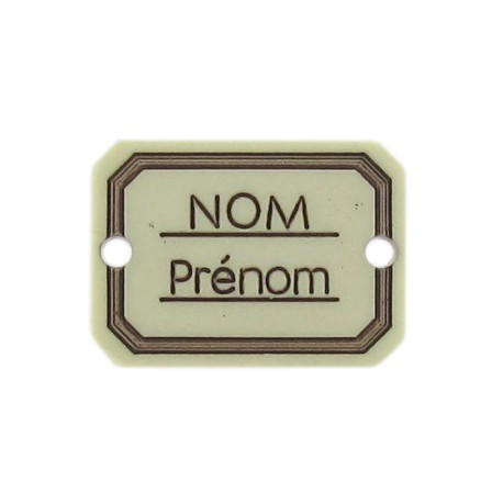 Button, rectangle-shaped, Surname/firstname - ecru