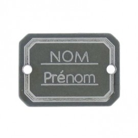 Bouton rectangle Nom/Prénom vert de gris