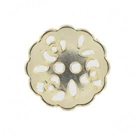 Metal button, Hemstitched Flower - golden