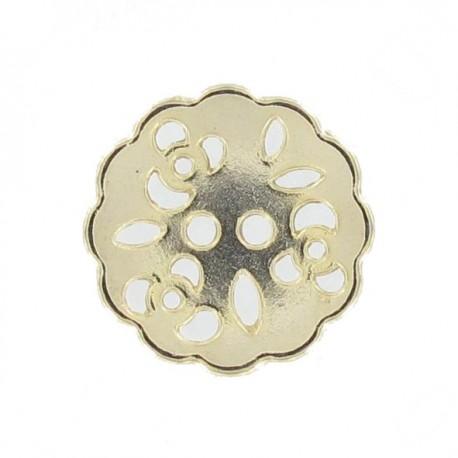 Bouton métal fleur ajourée dorée
