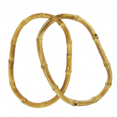Bamboo oval Bag handles - natural varnished