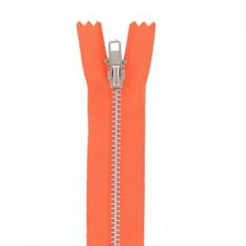 Aluminium Closed bottom zipper - fluorescent orange