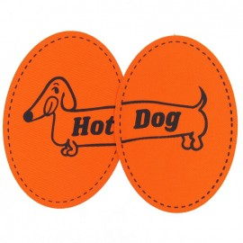 Coudières Genouillères Hot Dog orange toile