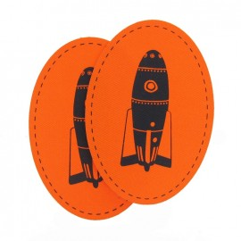 Canvas elbow and knee patch with a black space-rocket - orange