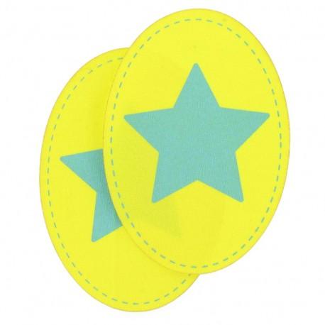 Coudière Genouillère étoile citron / turquoise jersey