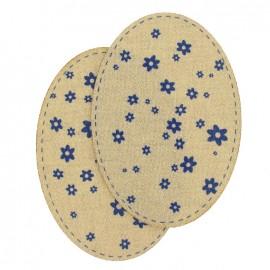 Coudières Genouillères Fleurs bleues/beige lainage