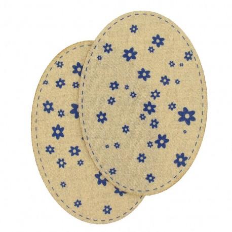Coudières Genouillères Fleurs beige/bleu lainage