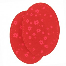 Coudières Genouillères fleurs rose fluo/rouge jersey