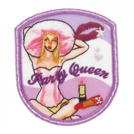 Badge Party Queen iron-on applique - purple
