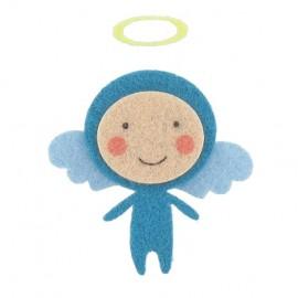 Felt-fabric little Angel iron-on applique - blue