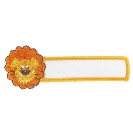 """Label """"Name"""" Lion iron-on applique - orange/yellow"""