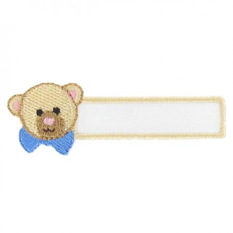 "Label ""Name"" Teddy bear iron-on applique - beige/blue"