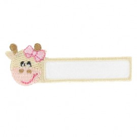 "Label ""Name"" Cow iron-on applique - white/beige/pink"