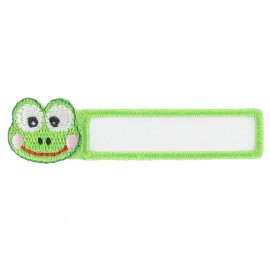 "Label ""Name""Frog iron-on applique - white/green"