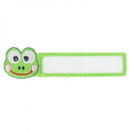 """Label """"Name""""Frog iron-on applique - white/green"""