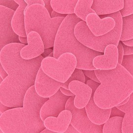 Felt-fabric Heart-shaped Stickers kit Basic - pink