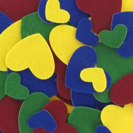 Felt-fabric Heart-shaped Stickers kit Basic - multicolored