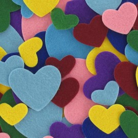 Felt-fabric Heart-shaped Stickers kit - multicolored