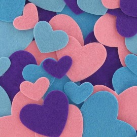 Felt-fabric Heart-shaped Stickers kit Fashion - multicolored