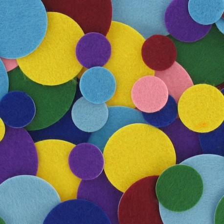 Felt-fabric kit of circle-shaped Stickers - multicolored
