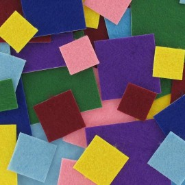 Felt-fabric kit of square-shaped Stickers - multicolored