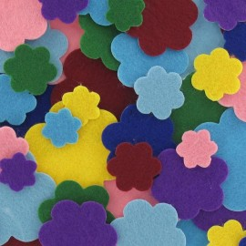 Felt-fabric Stickers kit of flowers - multicolored