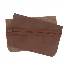 Kit grande pochette cuir Marrone